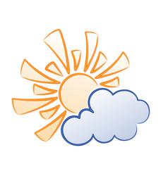 symbol sun and cloud vector image