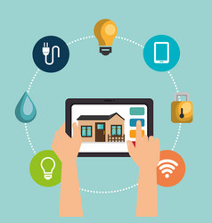 tablet device controlling smart home vector image