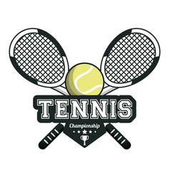 tennis sport rackets crossed ball emblem image vector image