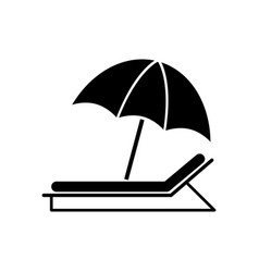 umbrella sunbed icons vector image