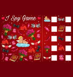 valentine day children i spy puzzle book page vector image