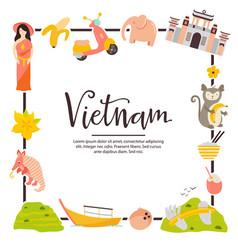 Vietnam cartoon banner travel vector