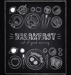vintage poster breakfast menu sketches vector image