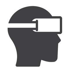 Virtual reality glasses solid icon game vector