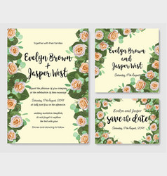 wedding floral watercolor style invite rsvp save vector image