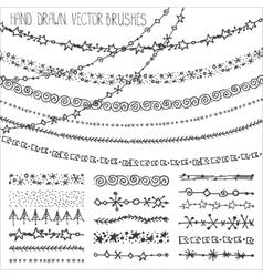 Winter garland brushes setChristmas doodlesBlack vector
