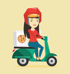 woman delivering pizza on scooter vector image