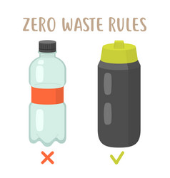 zero waste rules - plastic bottle vs reusable vector image