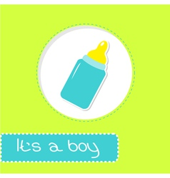 Baby boy bottle Shower card vector image vector image