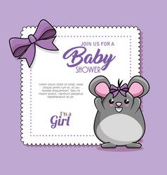 baby shower card with mouse vector image
