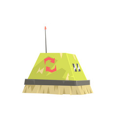 cute cartoon robot brush cleaner character vector image