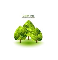 Green mosaic tree ecology design vector image