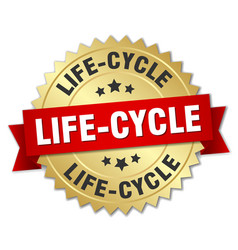 life-cycle round isolated gold badge vector image
