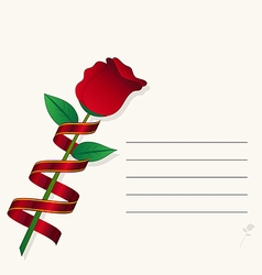 red rose on paper background vector image vector image