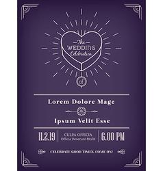 vintage wedding invitation design vector image vector image