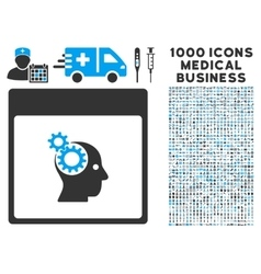 Brain Wheels Calendar Page Icon With 1000 Medical vector image vector image
