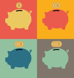 Colorful Piggy Bank Icon vector image