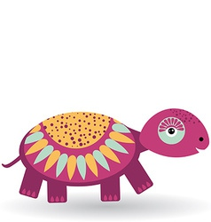 Funny turtle on a white background vector image vector image