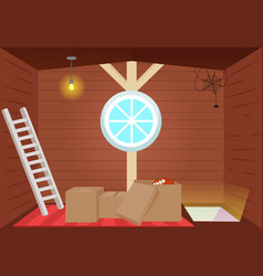bright cartoon interior attic vector image vector image