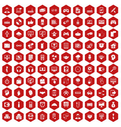 100 programmer icons hexagon red vector
