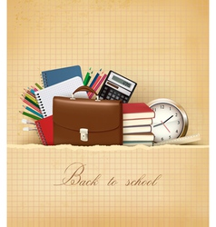 Back to school Background with school supplies and vector image vector image