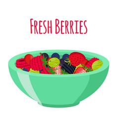 fresh berries in cup berry set in cartoon style vector image