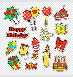 happy birthday party stickers badges vector image