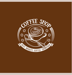 isolated brown color cup in retro style logo vector image