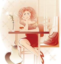 lady coffee vector image vector image