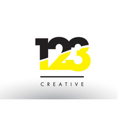 123 black and yellow number logo design vector