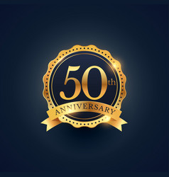 50th anniversary celebration badge label in vector