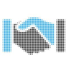 Acquisition handshake halftone icon vector