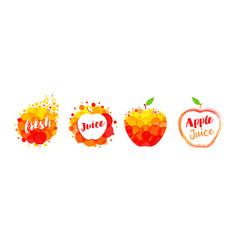 apple fresh juice label set vector image