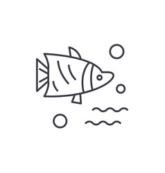 aquarium fish line icon concept aquarium fish vector image