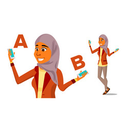 Arab woman comparing a with b good idea vector