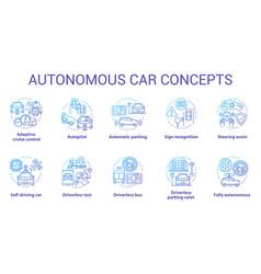 Autonomous car concept icons set car robotic vector