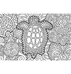 beautiful coloring book page with cartoon turtle vector image