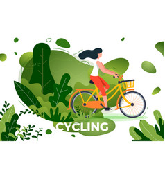 Bicycle riding girl in park vector