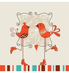 Birds romantic date vector