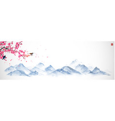 Blossoming sakura branch and misty mountains vector
