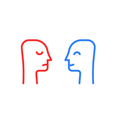 Blue and red head like positive or negative vector