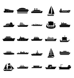 boat icons set simple style vector image