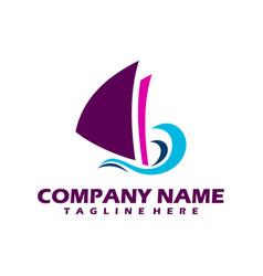 boat logo yacht logo cruise ship logo template vector image