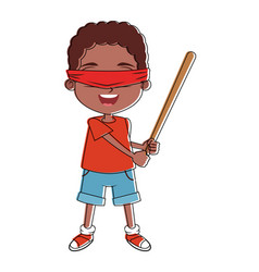Boy with blinfolded and bat vector