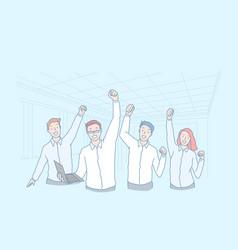 business teamwork win achievement excellence vector image