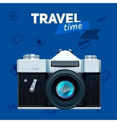 Camera and travel badge vector