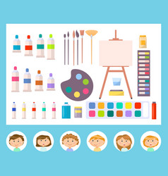 Canvas and other tools for painting kid vector