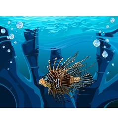 cartoon fish scorpion in the underwater reefs vector image