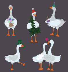 cartoon geese with holiday accessories set vector image