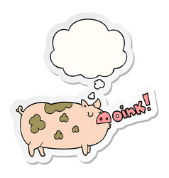 Cartoon oinking pig and thought bubble as a vector